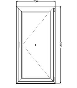 Поворотное окно 1400*700 (SCHÜCO CT 70/AXOR K3/4-16-4)